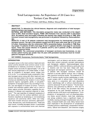 Total Laryngectomy: An Experience of 26 Cases in a Tertiary Care Hospital