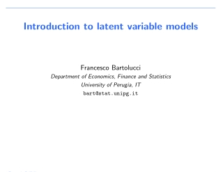 Introduction to latent variable models