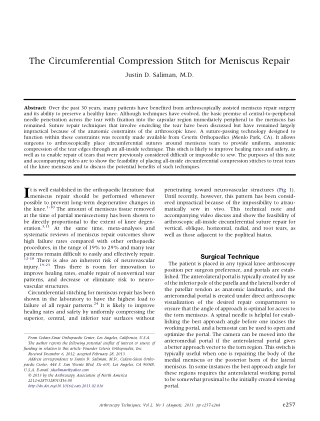 The Circumferential Compression Stitch for Meniscus Repair