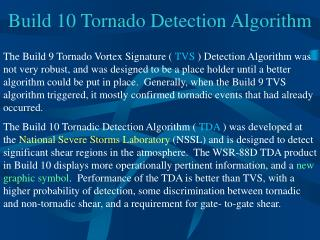 Assemble 10 Tornado Detection Algorithm