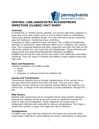 CENTRAL LINE-ASSOCIATED BLOODSTREAM INFECTION (CLABSI) FACT SHEET