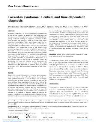 Locked-in syndrome: a critical and time-dependent diagnosis