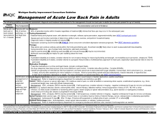 Management of Acute Low Back Pain in Adults