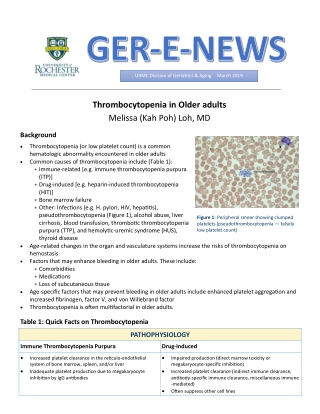 Thrombocytopenia in Older adults