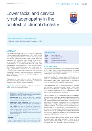 Lower facial and cervical lymphadenopathy in the context of clinical dentistry
