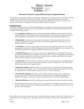 Informed Consent for Lung and Heart/Lung Transplant Patients