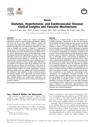 Diabetes, Hypertension, and Cardiovascular Disease: Clinical Insights and Vascular Mechanisms
