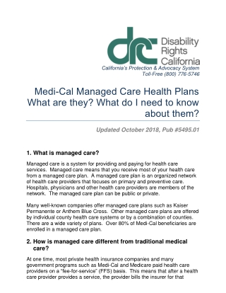 Medi-Cal Managed Care Health Plans What are they? What do I need to know about them?