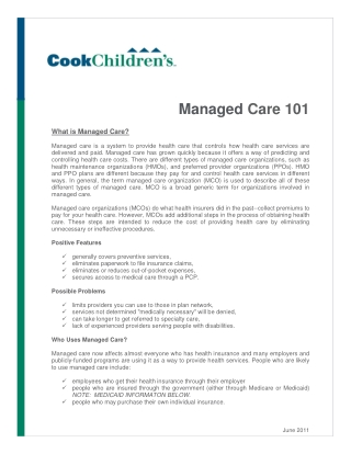 Managed Care 101
