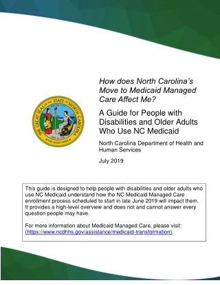How does North Carolina's Move to Medicaid Managed Care Affect Me?