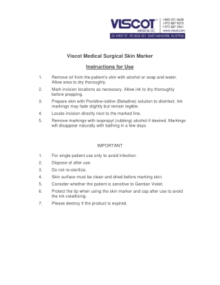 Viscot Medical Surgical Skin Marker Instructions for Use