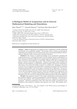 A Biological Model of Acupuncture and its Derived Mathematical Modeling and Simulations