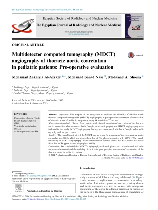 Multidetector computed tomography (MDCT) angiography of thoracic aortic coarctation in pediatric patients: Pre-operative evaluation