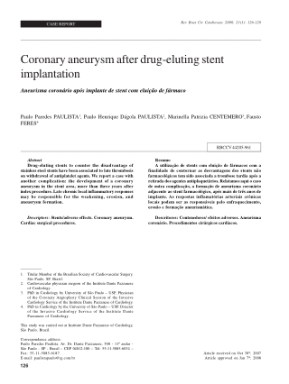 Coronary aneurysm after drug-eluting stent implantation