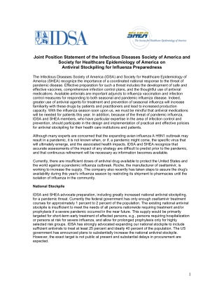 Joint Position Statement of the Infectious Diseases Society of America and Society for Healthcare Epidemiology of America on Antiviral Stockpiling for Influenza Preparedness