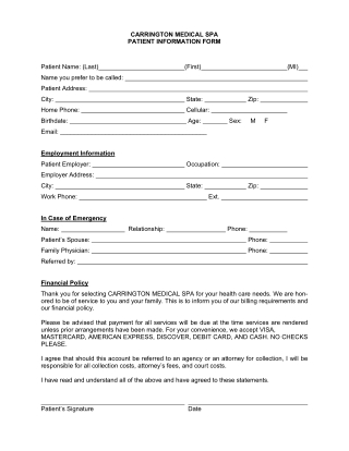 CARRINGTON MEDICAL SPA PATIENT INFORMATION FORM