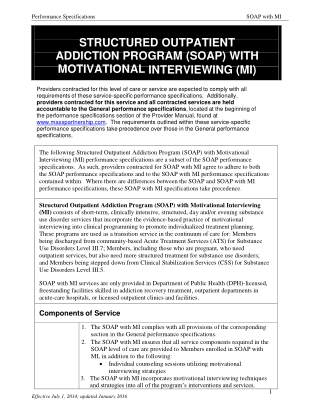 STRUCTURED OUTPATIENT ADDICTION PROGRAM (SOAP) WITH MOTIVATIONAL INTERVIEWING (MI)