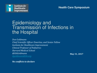 Epidemiology and Transmission of Infections in the Hospital