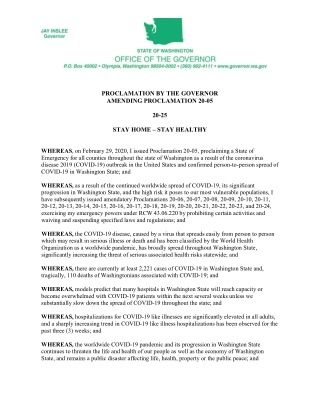 PROCLAMATION BY THE GOVERNOR AMENDING PROCLAMATION 20-05 20-25 STAY HOME – STAY HEALTHY