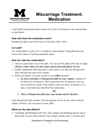 Miscarriage Treatment: Medication