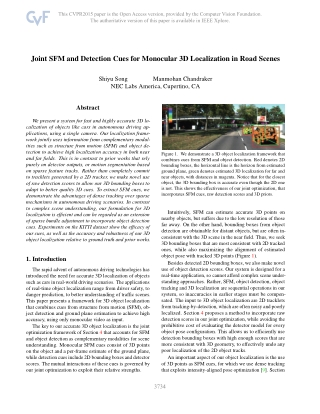 Joint SFM and Detection Cues for Monocular 3D Localization in Road Scenes
