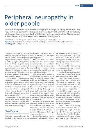 Peripheral neuropathy in older people