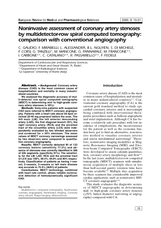 Noninvasive assessment of coronary artery stenoses by multidetector-row spiral computed tomography: comparison with conventional angiography