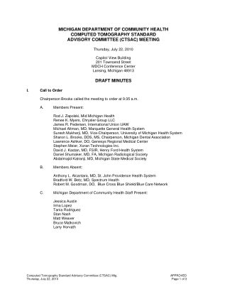 MICHIGAN DEPARTMENT OF COMMUNITY HEALTH COMPUTED TOMOGRAPHY STANDARD ADVISORY COMMITTEE (CTSAC) MEETING