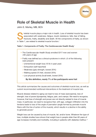 Role of Skeletal Muscle in Health