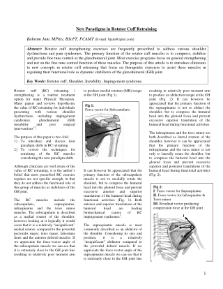 New Paradigms in Rotator Cuff Retraining