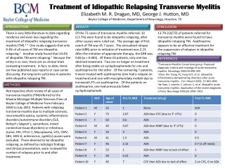 Treatment of Idiopathic Relapsing Transverse Myelitis Treatment of Idiopathic Relapsing Transverse Myelitis