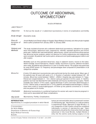 OUTCOME OF ABDOMINAL MYOMECTOMY
