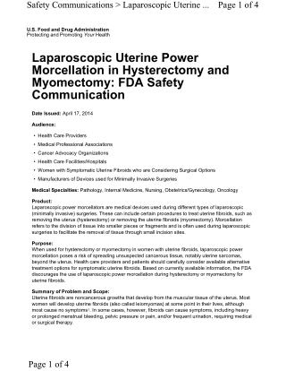 Laparoscopic Uterine Power Morcellation in Hysterectomy and Myomectomy: FDA Safety Communication