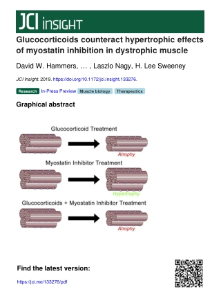 Glucocorticoids counteract hypertrophic effects of myostatin inhibition in dystrophic muscle