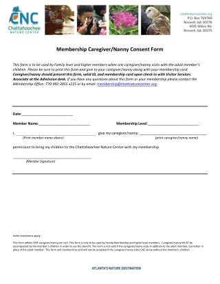 Membership Caregiver/Nanny Consent Form