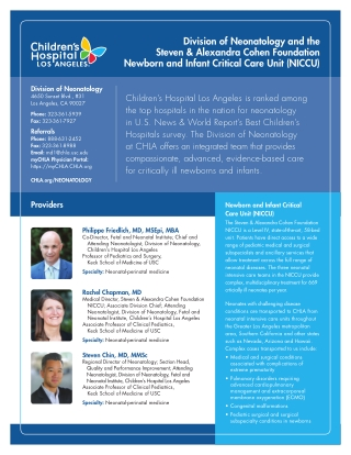 Division of Neonatology and the Steven & Alexandra Cohen Foundation Newborn and Infant Critical Care Unit (NICCU)