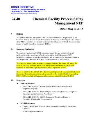 Chemical Facility Process Safety Management NEP