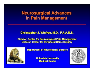 Neurosurgical Advances in Pain Management in Pain Management Neurosurgical Advances