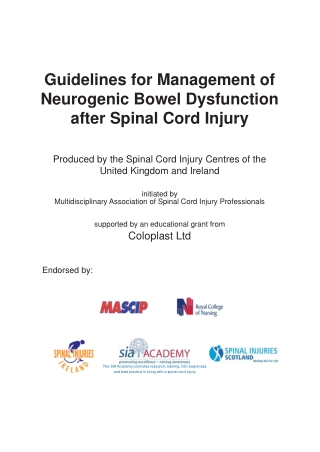 Guidelines for Management of Neurogenic Bowel Dysfunction after Spinal Cord Injury