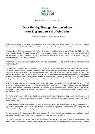 Data Sharing Through the Lens of the New England Journal of Medicine