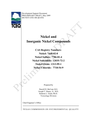 Nickel and Inorganic Nickel Compounds