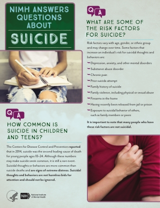 It is important to note that many people who have these risk factors are not suicidal.
