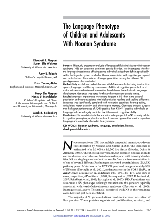 The Language Phenotypeof Children and AdolescentsWith Noonan Syndrome