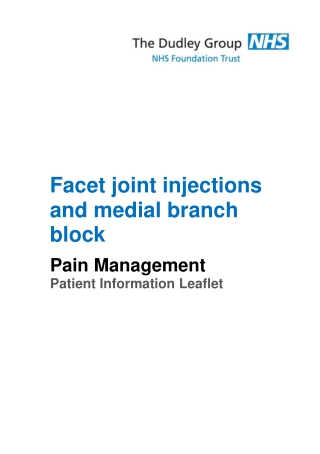 Facet joint injections and medial branch block