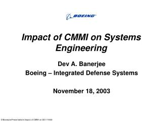 Effect of CMMI on Systems Engineering