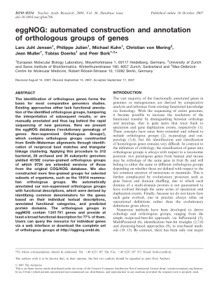 eggNOG: automated construction and annotation of orthologous groups of genes