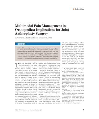 Multimodal Pain Management in Orthopedics: Implications for Joint Arthroplasty Surgery