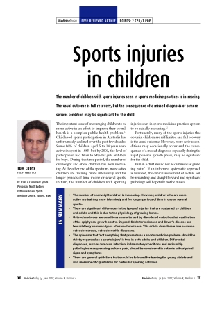 Sports injuries in childre n