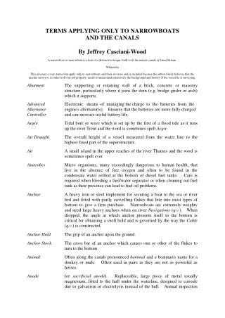 TERMS APPLYING ONLY TO NARROWBOATS AND THE CANALS By Jeffrey Casciani-Wood