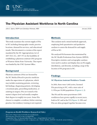 The Physician Assistant Workforce In North Carolina